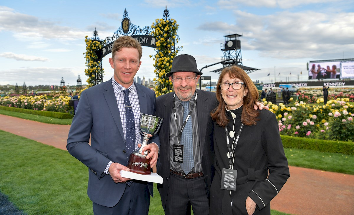 Matt with parents Michael & Leonie Laurie after winning the G3 World Horse Racing Roses Stakes with Bleu Roche @ Flemington on Oaks Day, Nov 2018